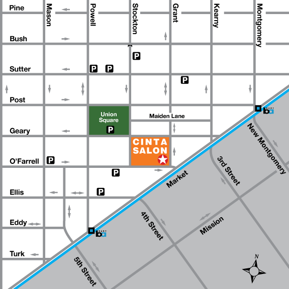 Map to Cinta Salon on Grant Street near Union Square in San Francisco