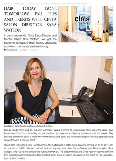 2015 Auve Daily Interview with Cinta Salon Director and Mentor Stylist Sara Watson