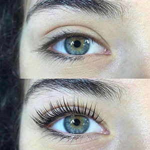 Two images, top and bottom, of female eye without and with a lash lift.
