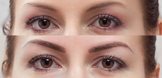 Female eyes without and with microbladed eyebrows