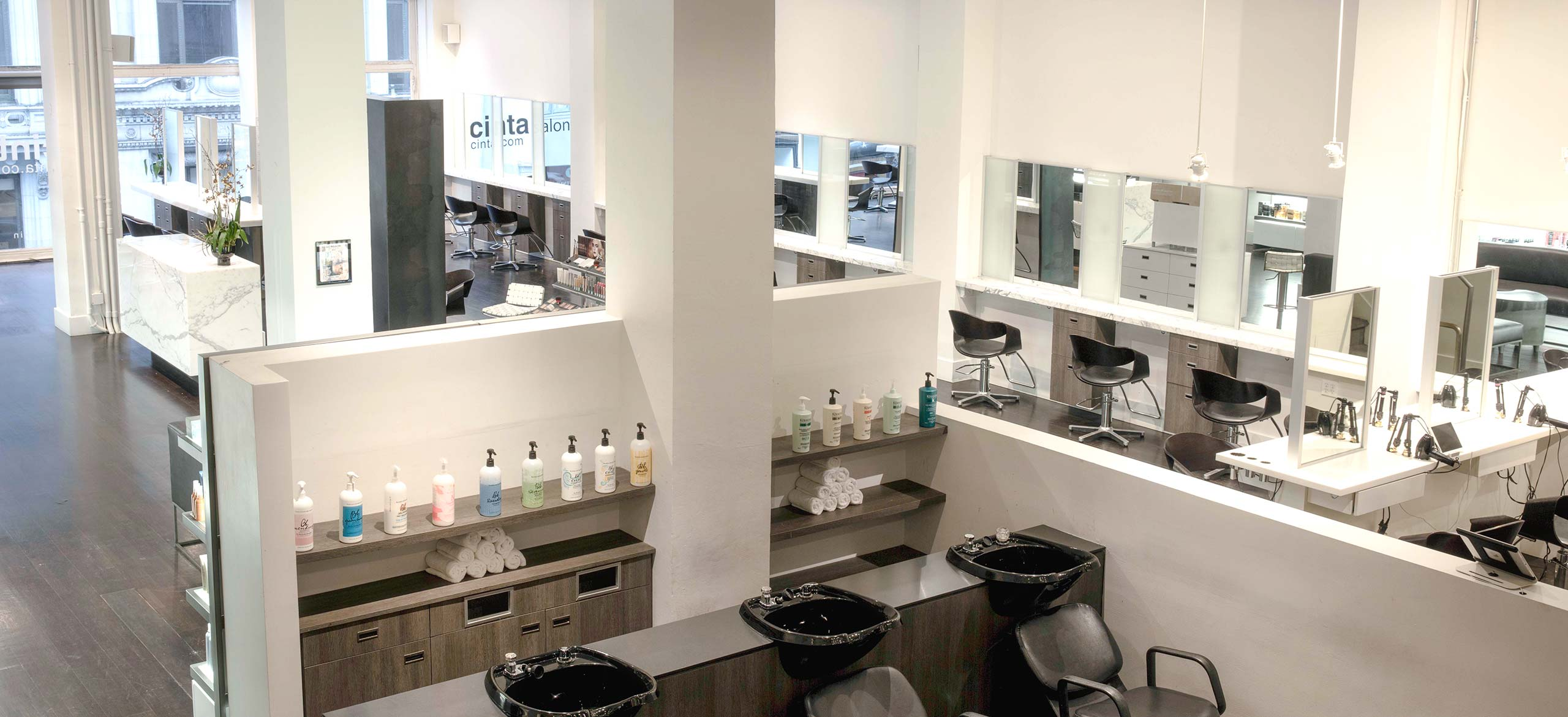 Cinta Salon - Shampoo Stations and the Salon - high view